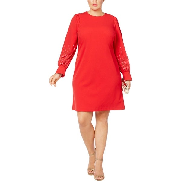 Calvin Klein Womens Plus Party Dress Embellished Bishop Sleeve