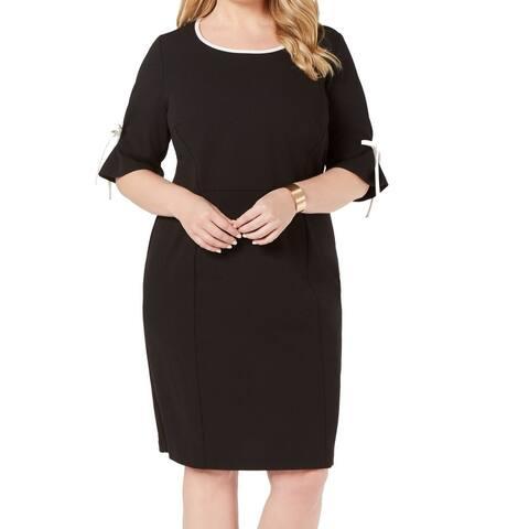 Connected Apparel Women's Dress Black Size 16W Plus Sheath Tie Sleeve