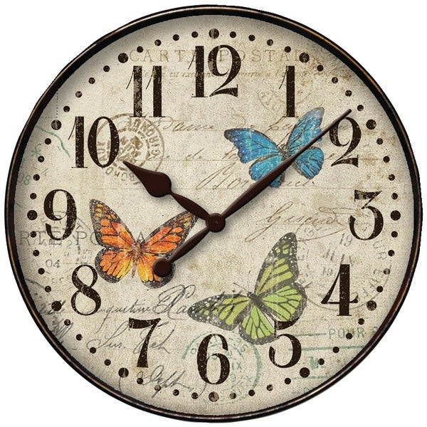 """Westclox 32897Bf 12"""" Round Butterfly Wall Clock"""