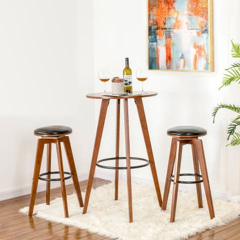 Glitzhome Bamboo Round Bar Table or Swivel Upholstery Bar Stool