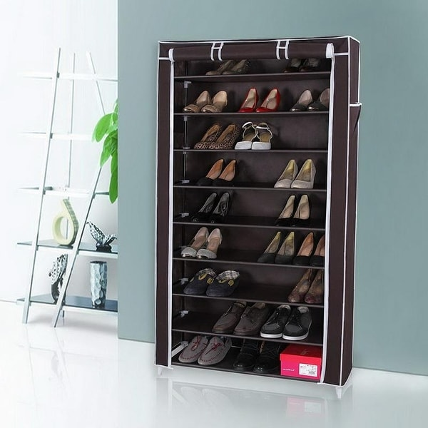 10 Tiers Storage Closet Organizer Shoe Rack w/Cover 3 Colors. Opens flyout.