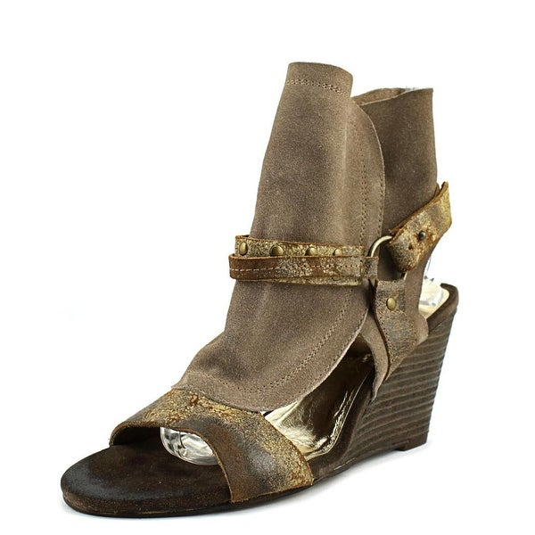 Diba Indie Women Open Toe Suede Gray Wedge Sandal