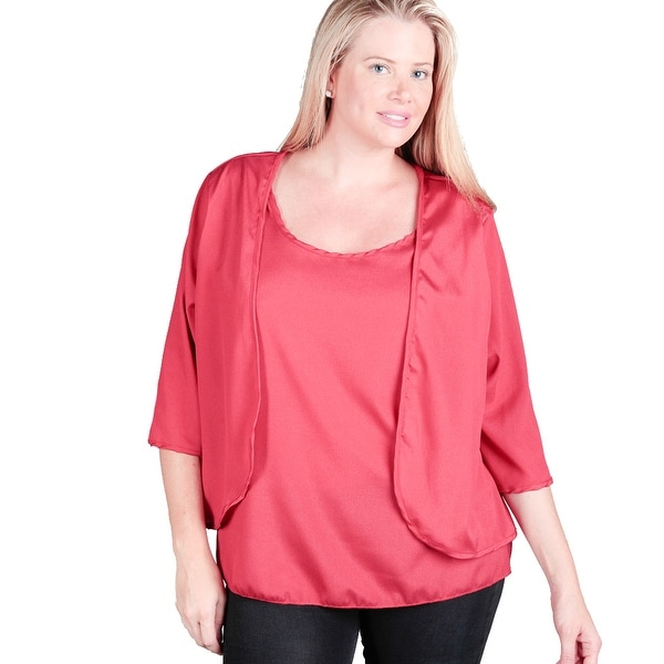 Women's Plus Size Layered Dressy Top Shirt Blouse, Red, Brown, Black, XL-XXL-XXXL