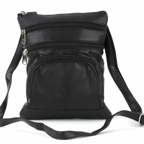 Medium Multi Pocket Leather Cross Body Bag
