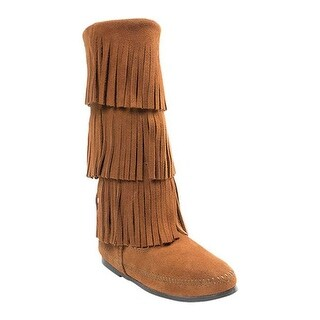 Minnetonka Women's 3 Layer Fringe Boot Brown Suede