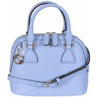 Gucci 449661 Blue Leather 2-Way Convertible GG Charm Small Dome Purse - Mineral Blue - 9.06 x 7.48 x 4.72 inches