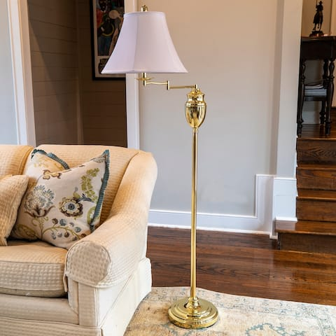 Swing-arm Floor Lamp with Faux Silk Shade