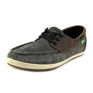Sanuk Casa Barco Vintage Men Moc Toe Canvas Black Boat Shoe
