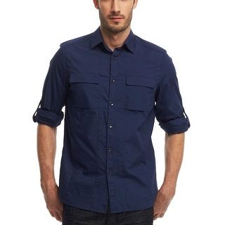 Kenneth Cole Reaction Shirt Small S Navy Blue Regular Fit Long Sleeves