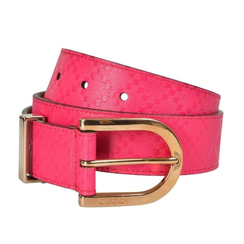 Gucci Women's Diamante Pink Leather Belt 354382