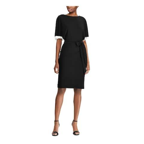 RALPH LAUREN Black Short Sleeve Knee Length Dress 8