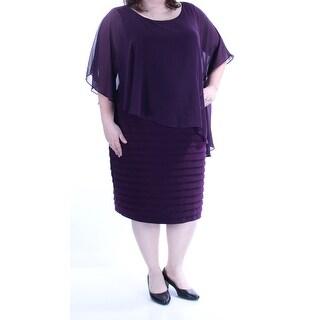 BETSY & ADAM $189 Womens New 1406 Purple Jewel Neck Layered Dress 20W Plus B+B