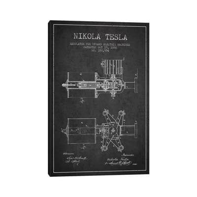 "iCanvas ""Tesla Regulator Charcoal Patent Blueprint"" by Aged Pixel Canvas Print"