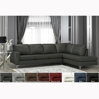 Malibu Premium Top Grain Italian Leather Sectional Sofa - 122.5 x 85 x 36.5 x 35