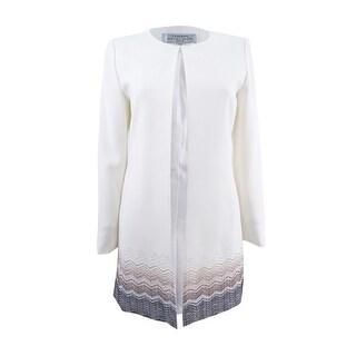 Tahari ASL Women's Plus Size Printed Ponte Knit Jacket - cloud/pastel