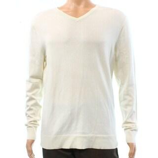 Alfani White Ivory Mens Size Small S Banded-Hem V-Neck Sweater