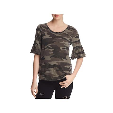 Splendid Womens T-Shirt Camouflage Ruffle Sleeves