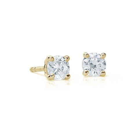 Suzy Levian 14K Yellow Gold 0.15 ct. tw. Diamond Stud Earrings - White