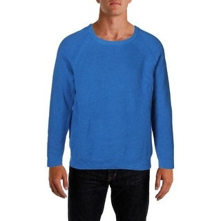 Kenneth Cole Reaction Mens Crewneck Sweater Ribbed Knit Raglan Sleeves
