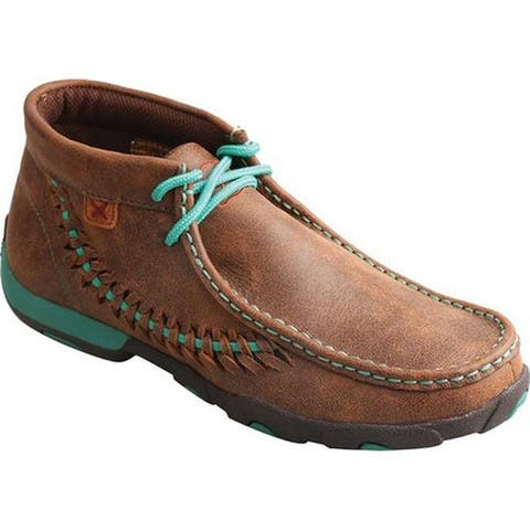 Twisted X Boots Women's WDM0093 Driving Moc Brown/Turquoise Leather