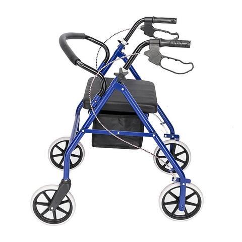 Fold Up Steel & Nylon 4 Wheel Walker Rollator Removable Back