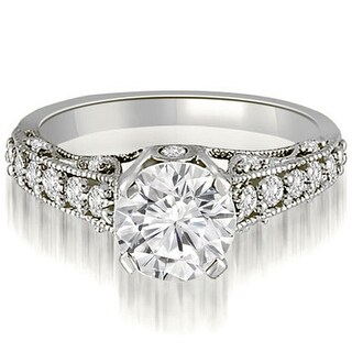 14kt White Gold 0.85 ct.tw Antique Milgrain Round Cut Diamond Engagement Ring H-I, SI1-2 (More options available)