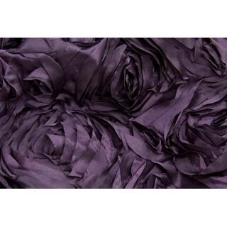 "Wedding Rosette Satin 90""x156"" rectangular Tablecloth - Plum"