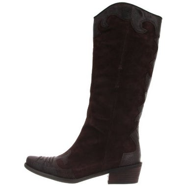 Franco Sarto Womens Willow Leather Almond Toe Mid-Calf Western Boots