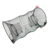 "Unique Bargains 23.6"" x 11.6"" Cylinder Shape Portable Fishing Landing Net Fish Angler Mesh Keepnet Shrimp Black"