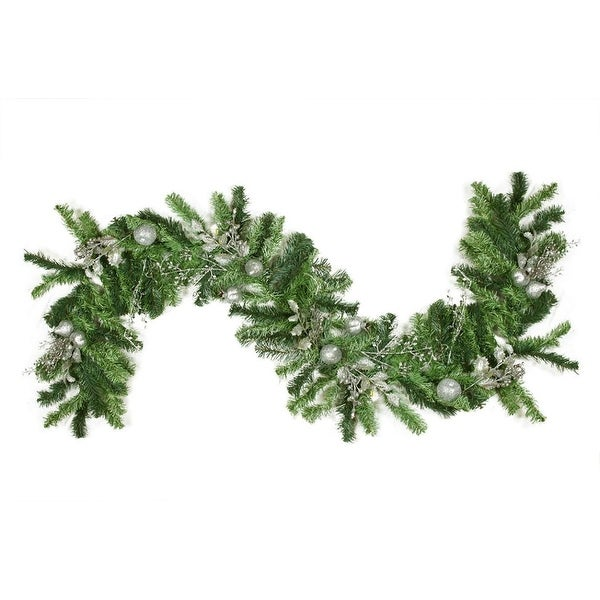 """6' x 12"""" Pre-Decorated Silver Holly Berry, Apple and Twig Artificial Christmas Garland - Unlit - green"""