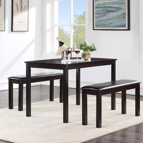 """Modern and Contemporary Coffee Rubber Solid Wood Table and Bench Set of 3 - L46.4""""*W27.5""""*H30"""""""