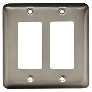 Franklin Brass W10252-C Stamped Steel Round Double Rocker / GFI Outlet Wall Plat