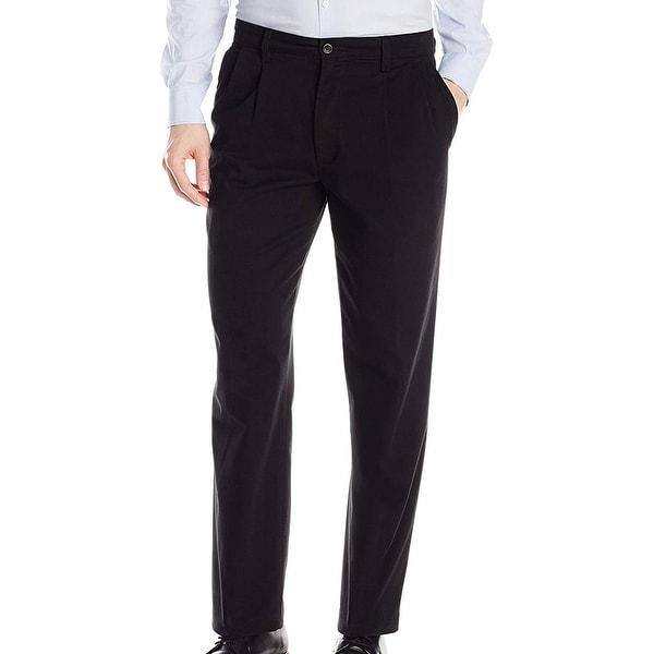 Dockers Mens Dress Pants Black Size 38x32 Pleated Classic Fit Stretch