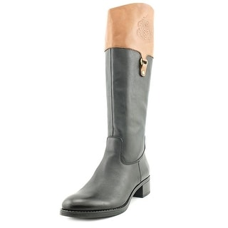 Franco Sarto Clarity Women Round Toe Leather Black Knee High Boot