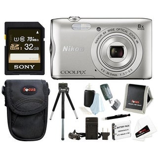 Nikon Coolpix A300 Digital Camera with 32GB Card, Batteries + Charger and Bundle