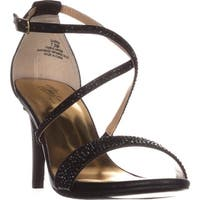TS35 Darria Cross Strap Evening Sandals, Black Metallic