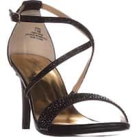 TS35 Darria Cross Strap Evening Sandals, Black Metallic