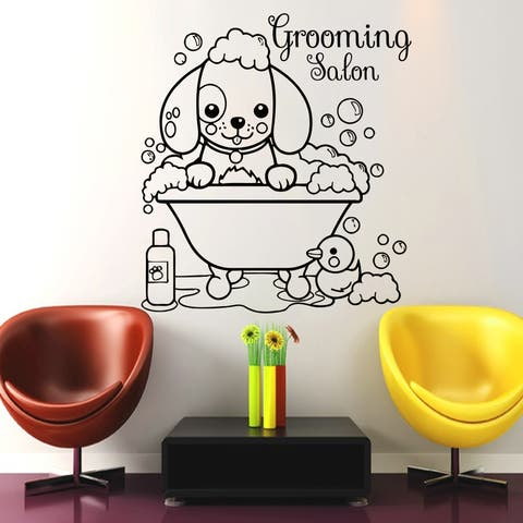Vet Shop Wall Decal, Dog Grooming Salon Vinyl Sticker, Dog Grooming Wall Decal, Dog Art, Puppy Pet Shop Decal