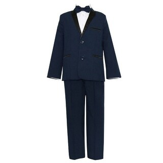 Baby Boys Navy Black 4 Pcs Shirt Bow Pants Jacket Slim Fit Tuxedo