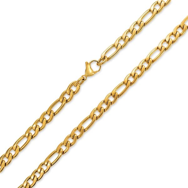 Shop Mens Heavy Solid 7mm Gold Tone Stainless Steel Figaro Chain