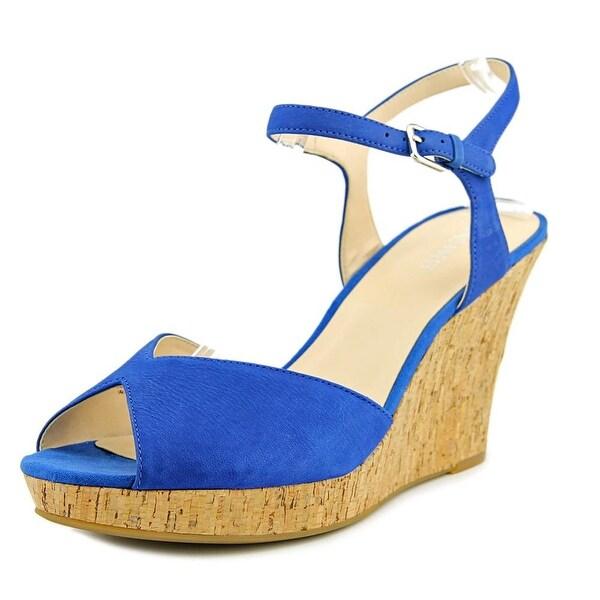Nine West Big Easy   Open Toe Leather  Wedge Sandal