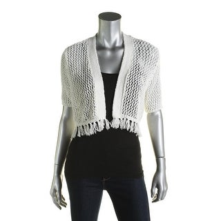 Calvin Klein Womens Shrug Sweater Open Knit Fringe