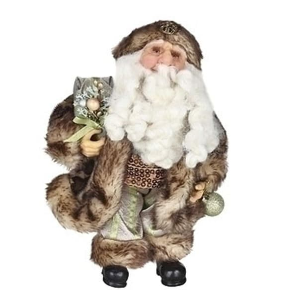 "10"" Brown and Gray Christmas Santa Claus in Cheetah Faux Fur Suit Figure"