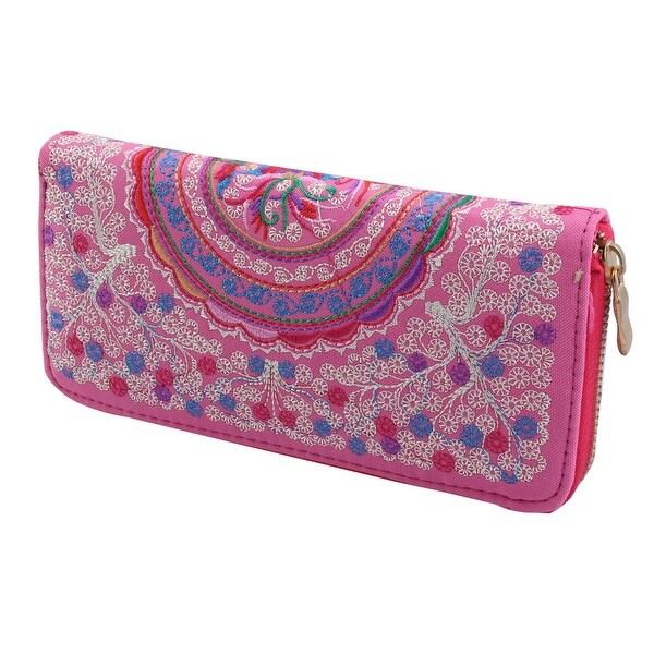 Women Ladies Embroidered Flower Design Zip Up Wallet Purse Money Handbag Pink