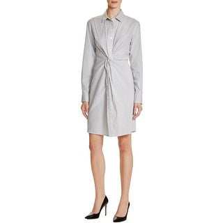 DKNY Womens Shirtdress Knot-Front Button Front