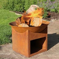 Sunnydaze Rustic Cast Iron Fire Pit Bowl with Built In Log Holder - 22 Inch