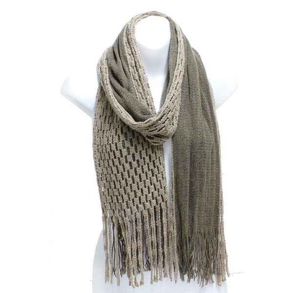 Winter Knit Checker Oblong Scarf Fringe