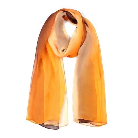 "Long Chiffon Lightweight Gradient Color Scarf For Women Coffee/Orange - 63""x19.6"""