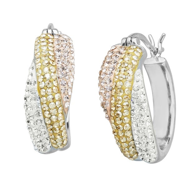 Crystaluxe Hoop Earrings with Rose, Golden & White Swarovski Elements Crystals in Sterling Silver - Yellow