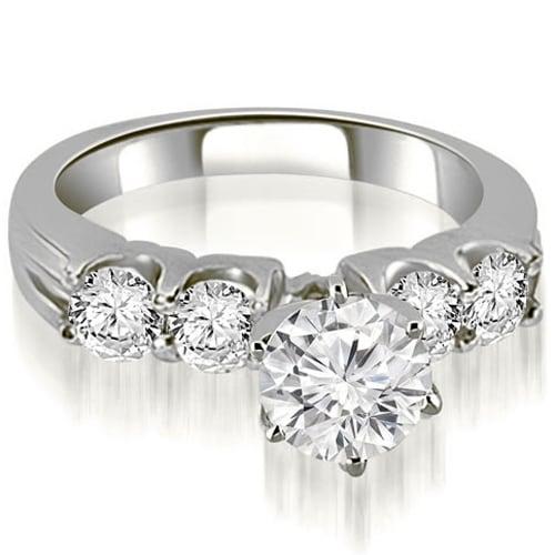 1.30 cttw. 14K White Gold Round Cut Diamond Engagement Ring